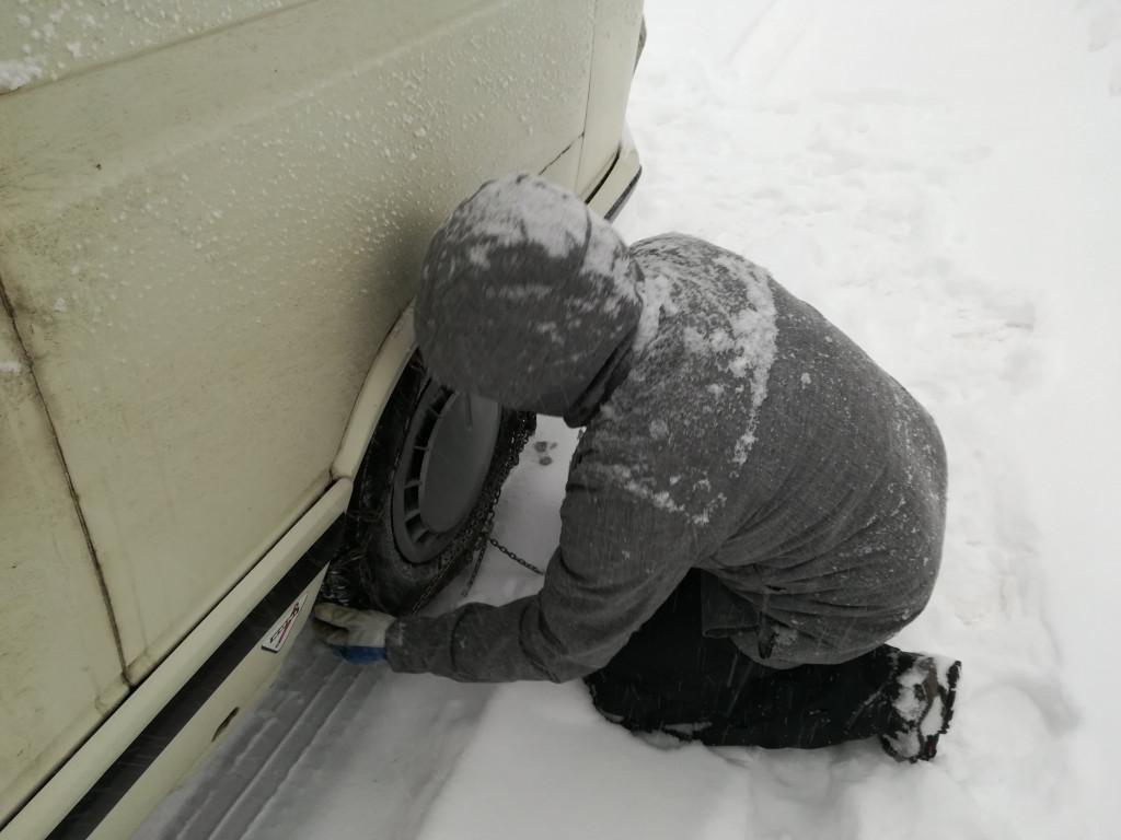 Schneeketten am VW T3 anlegen