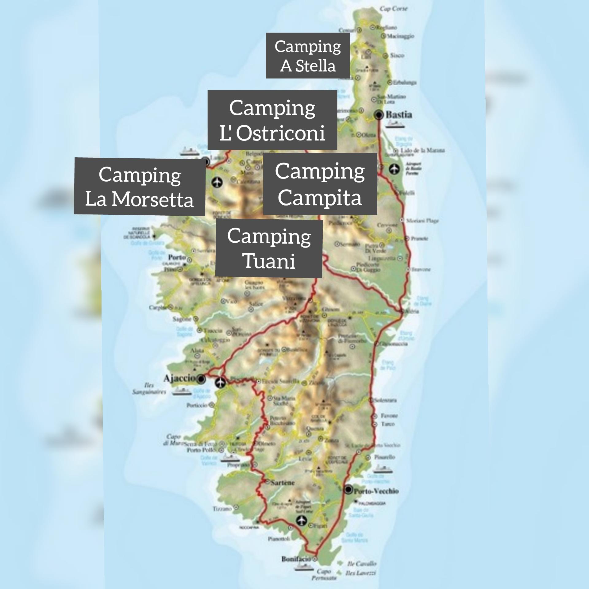 Korsika Campingplätze Balagne Karte