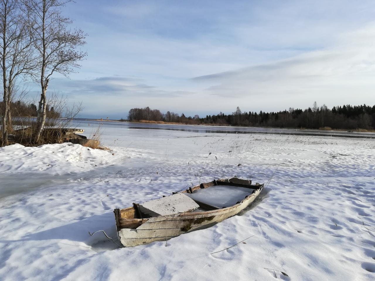Boot Schweden eingefroren Ostsee