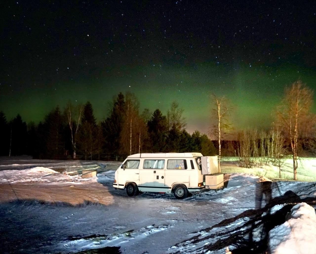 VW T3 und Polarlichter in Lappland