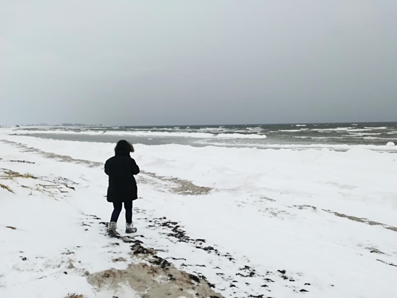 Strand Schweden im Winter