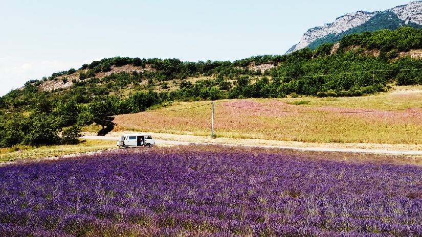 Drohnenbild vom Lavendelfeld in Südfrankreich