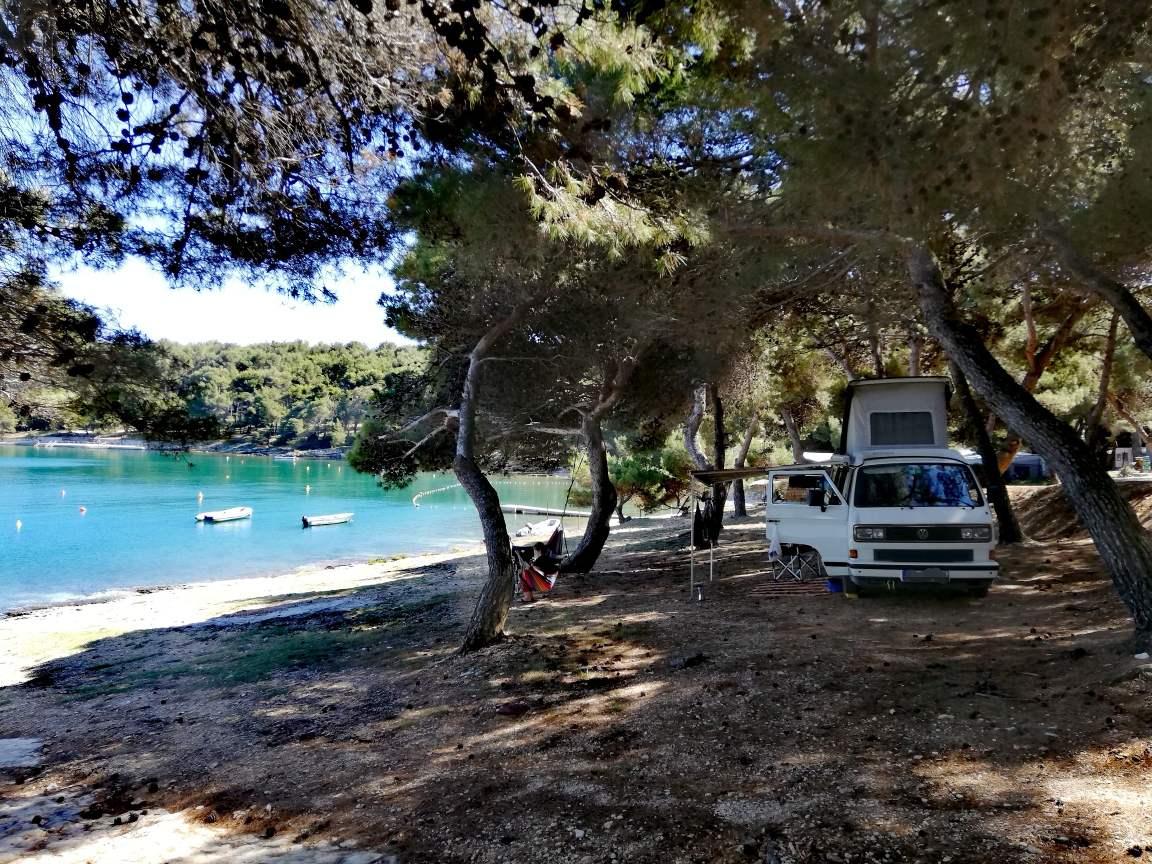 Kroatien Campingplatz Istrien VW Bus