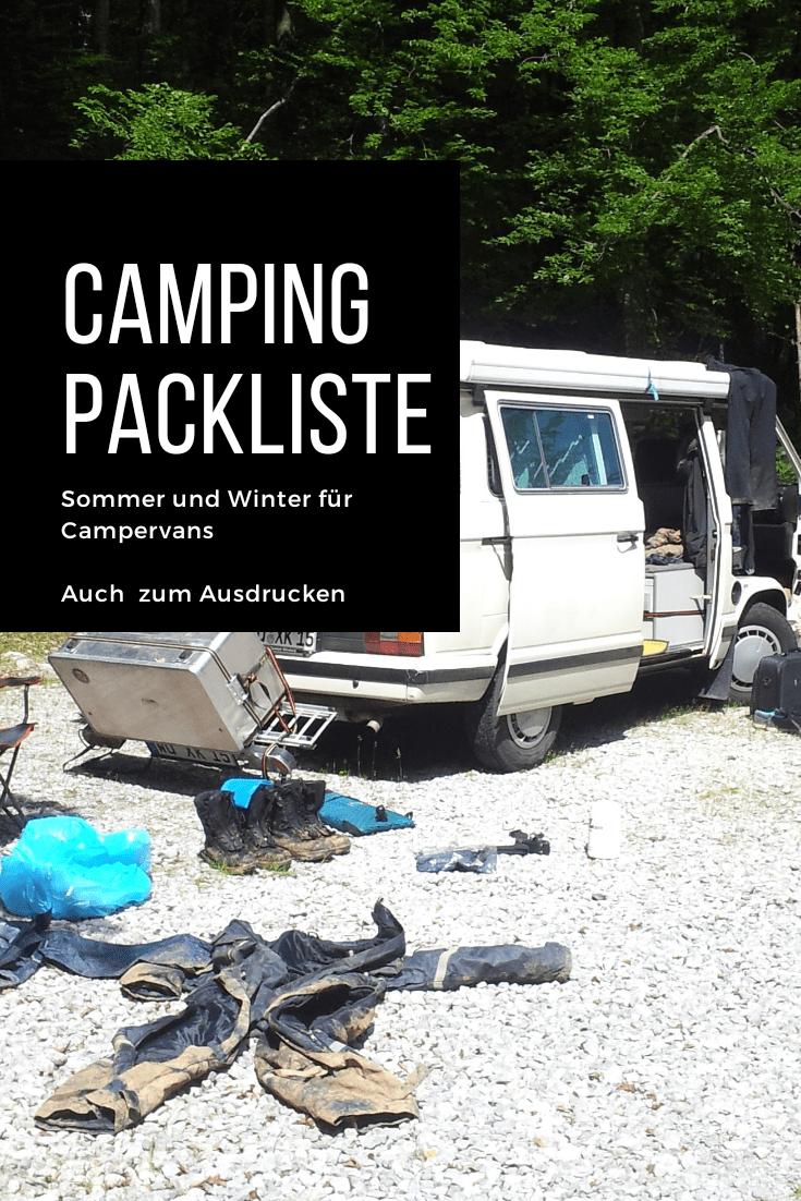 Camping Packliste zum Ausdrucken – Camper/VW Bullis/ Selbstausbau